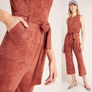 NEW Anthropologie Suede Jumpsuit M Playsuit Boho